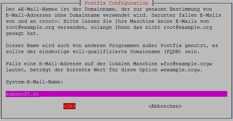 Postfix Config System Name